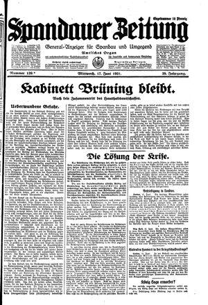 Spandauer Zeitung vom 17.06.1931