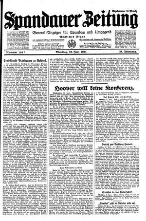 Spandauer Zeitung vom 23.06.1931