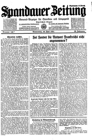 Spandauer Zeitung vom 25.06.1931