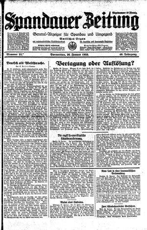 Spandauer Zeitung vom 26.01.1933