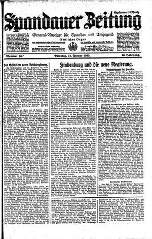 Spandauer Zeitung vom 31.01.1933