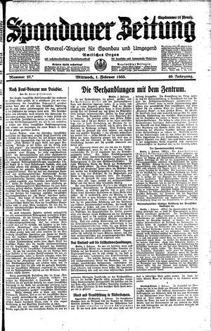 Spandauer Zeitung vom 01.02.1933