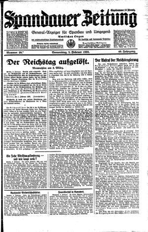 Spandauer Zeitung vom 02.02.1933