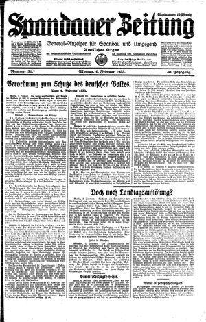 Spandauer Zeitung vom 06.02.1933
