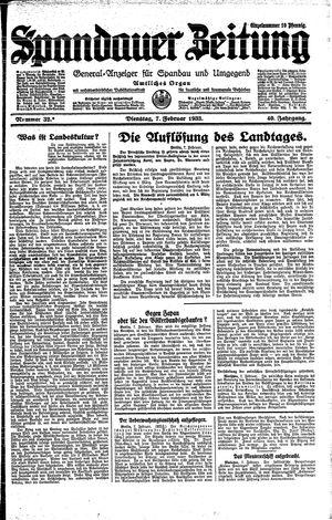 Spandauer Zeitung on Feb 7, 1933