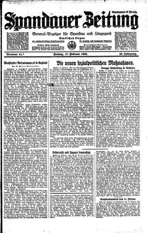Spandauer Zeitung vom 17.02.1933