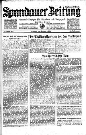 Spandauer Zeitung vom 20.02.1933