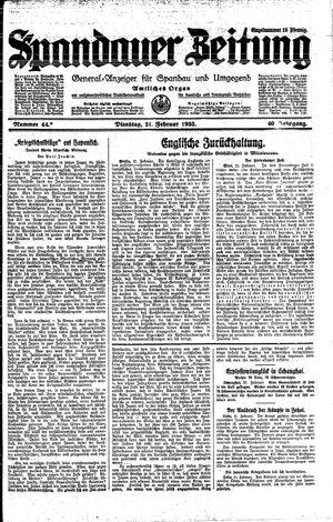 Spandauer Zeitung vom 21.02.1933