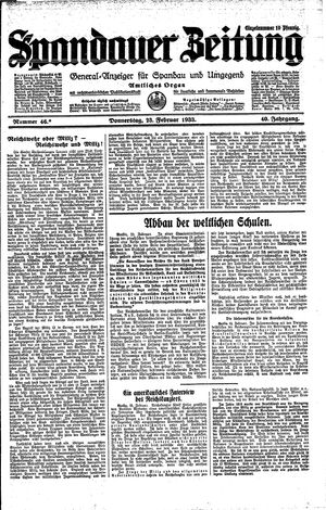 Spandauer Zeitung vom 23.02.1933