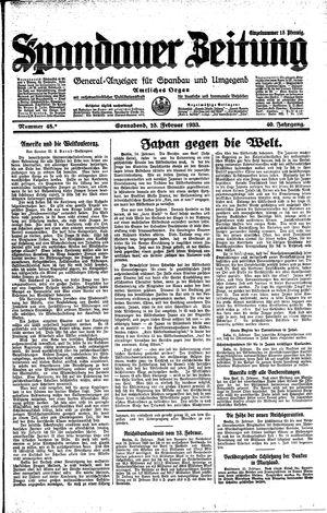 Spandauer Zeitung vom 25.02.1933