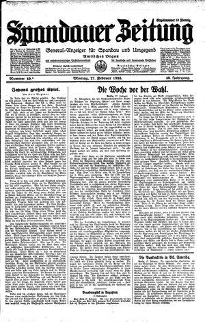 Spandauer Zeitung vom 27.02.1933