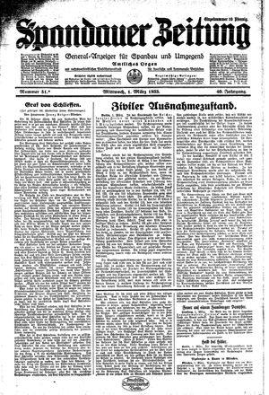 Spandauer Zeitung vom 01.03.1933
