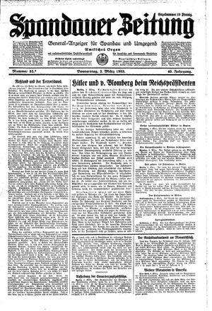 Spandauer Zeitung vom 02.03.1933