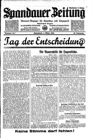 Spandauer Zeitung vom 04.03.1933