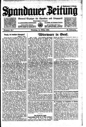 Spandauer Zeitung vom 14.03.1933