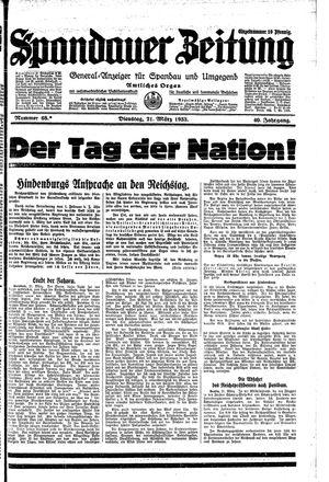 Spandauer Zeitung vom 21.03.1933