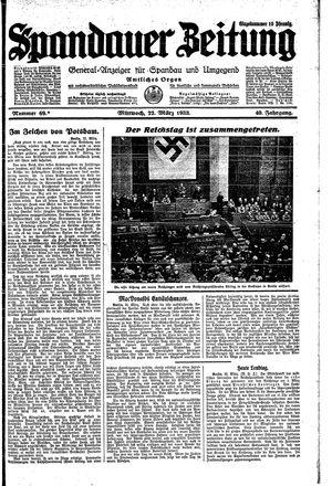 Spandauer Zeitung vom 22.03.1933