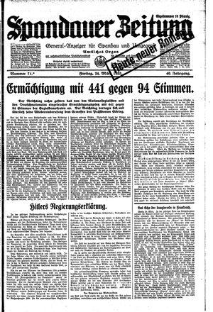 Spandauer Zeitung vom 24.03.1933