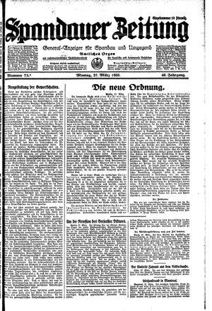 Spandauer Zeitung vom 27.03.1933
