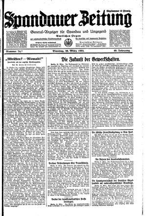 Spandauer Zeitung vom 28.03.1933