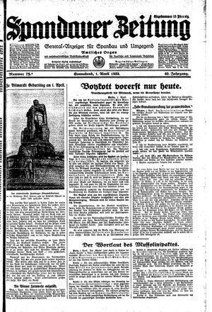 Spandauer Zeitung vom 01.04.1933