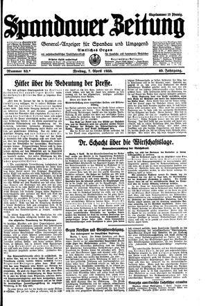 Spandauer Zeitung vom 07.04.1933