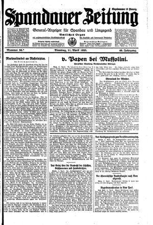 Spandauer Zeitung vom 11.04.1933