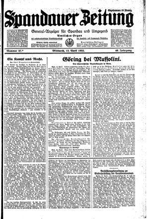 Spandauer Zeitung vom 12.04.1933