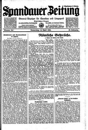 Spandauer Zeitung vom 13.04.1933