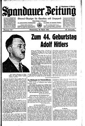 Spandauer Zeitung vom 20.04.1933