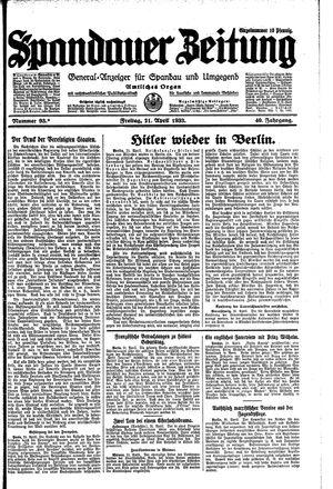 Spandauer Zeitung vom 21.04.1933
