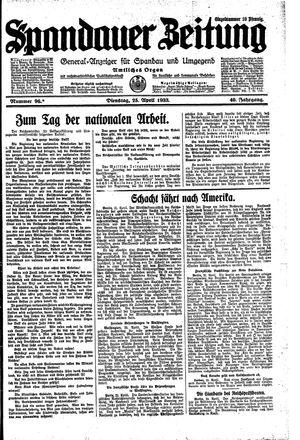 Spandauer Zeitung vom 25.04.1933