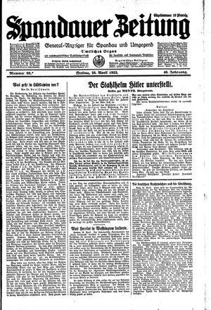 Spandauer Zeitung vom 28.04.1933