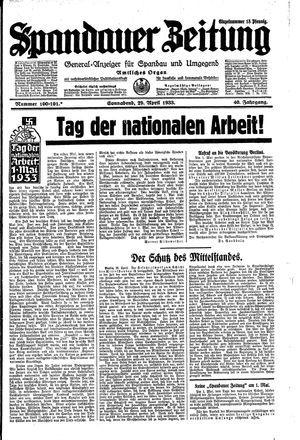 Spandauer Zeitung on Apr 29, 1933