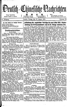 Deutsch-chinesische Nachrichten vom 16.01.1931