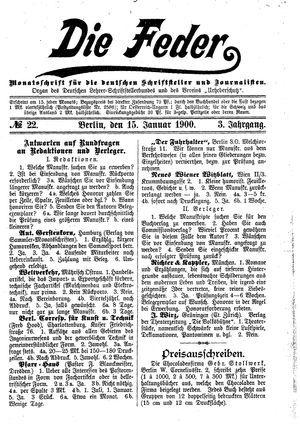 ˜Dieœ Feder vom 15.01.1900