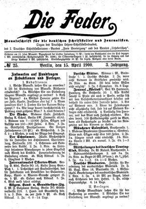 ˜Dieœ Feder vom 15.04.1900