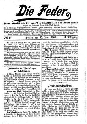 ˜Dieœ Feder vom 15.06.1900