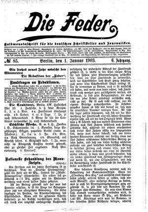˜Dieœ Feder vom 01.01.1903
