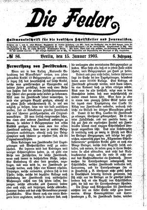 ˜Dieœ Feder vom 15.01.1903