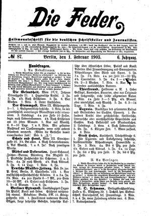 ˜Dieœ Feder vom 01.02.1903