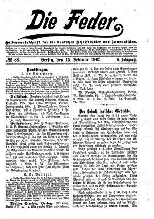 ˜Dieœ Feder vom 15.02.1903