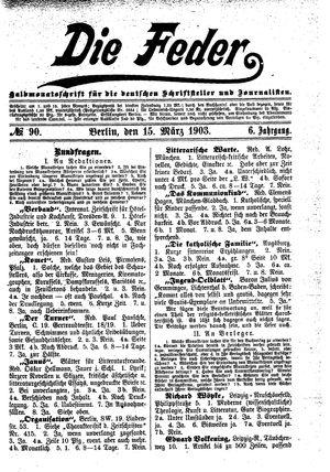 ˜Dieœ Feder vom 15.03.1903