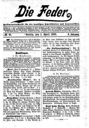 ˜Dieœ Feder vom 01.04.1903