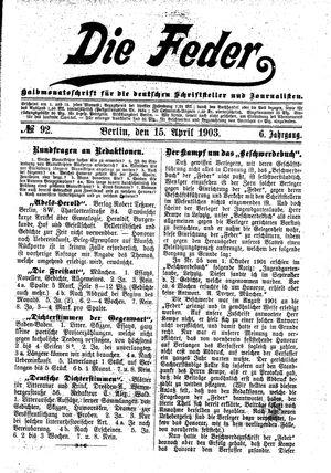 ˜Dieœ Feder vom 15.04.1903