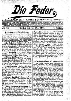 ˜Dieœ Feder vom 15.05.1903