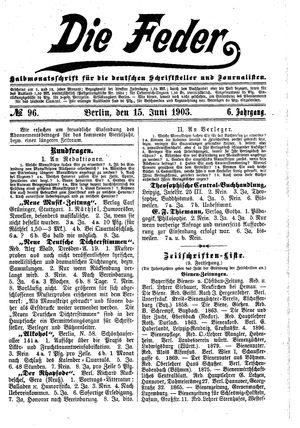 ˜Dieœ Feder vom 15.06.1903