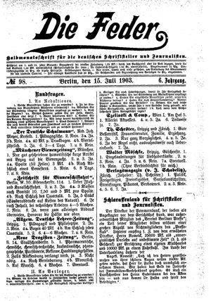 ˜Dieœ Feder vom 15.07.1903