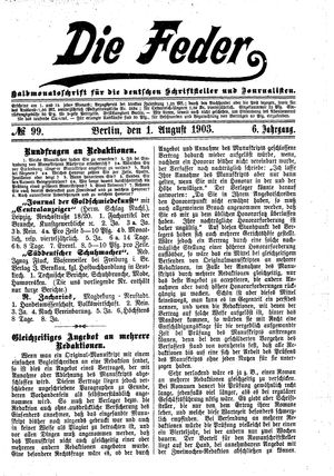 ˜Dieœ Feder vom 01.08.1903