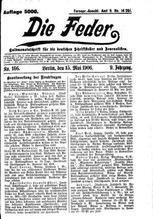 ˜Dieœ Feder on May 15, 1906